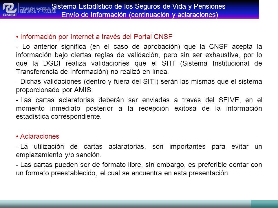 Sistema Estadístico de los Seguros de Vida y Pensiones Envío de Información (continuación y aclaraciones)