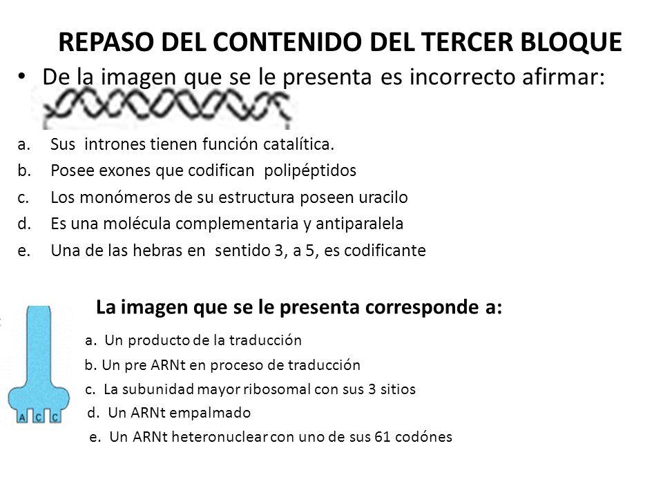 REPASO DEL CONTENIDO DEL TERCER BLOQUE