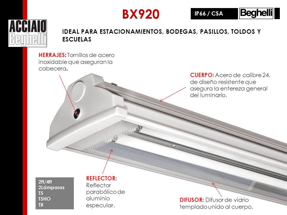 BX920 IP66 / CSA. IDEAL PARA ESTACIONAMIENTOS, BODEGAS, PASILLOS, TOLDOS Y ESCUELAS.