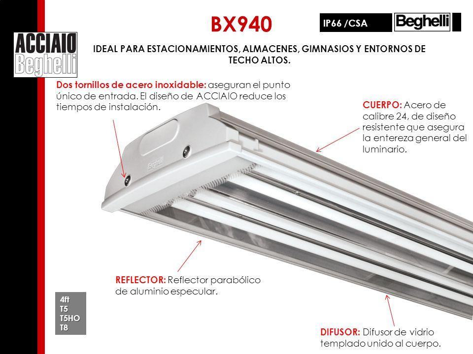 BX940 IP66 /CSA. IDEAL PARA ESTACIONAMIENTOS, ALMACENES, GIMNASIOS Y ENTORNOS DE TECHO ALTOS.