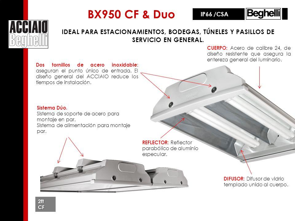 BX950 CF & Duo IP66 /CSA. IDEAL PARA ESTACIONAMIENTOS, BODEGAS, TÚNELES Y PASILLOS DE SERVICIO EN GENERAL.