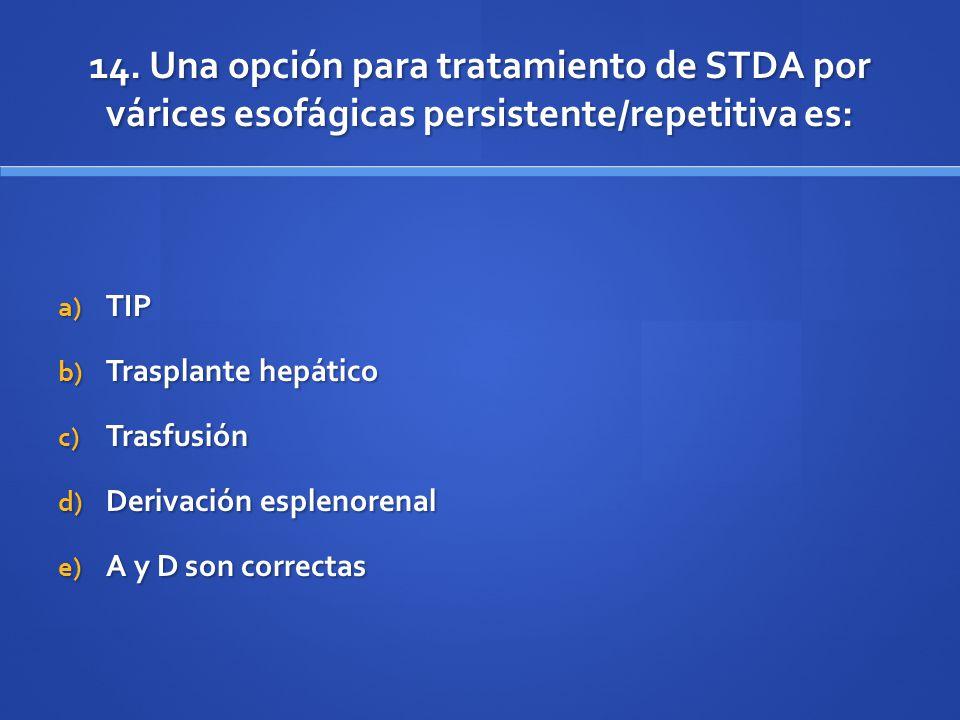 14. Una opción para tratamiento de STDA por várices esofágicas persistente/repetitiva es: