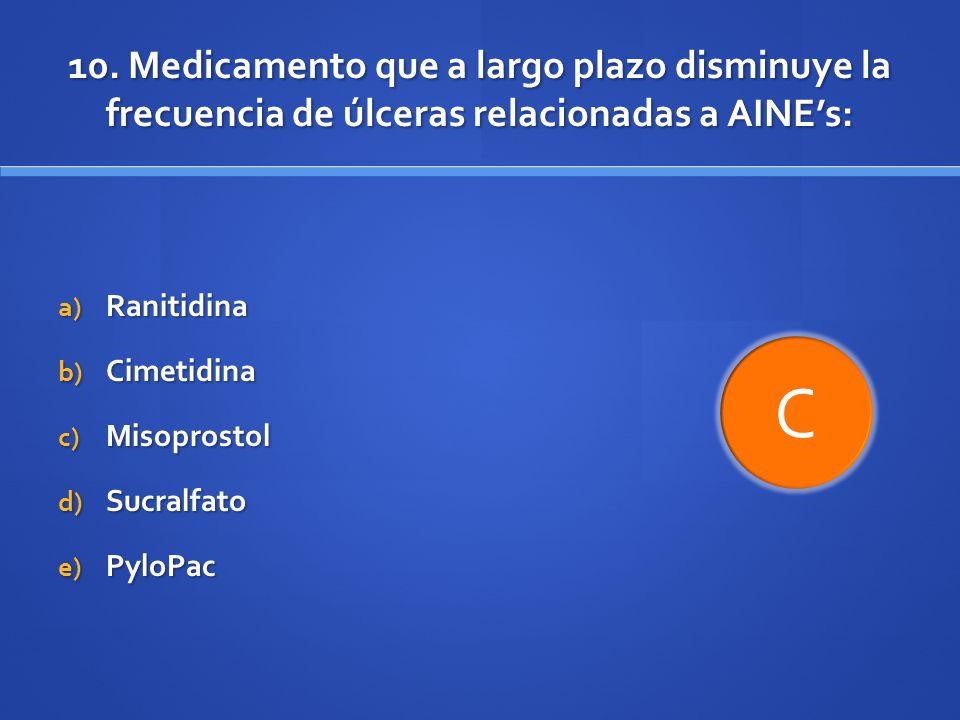 10. Medicamento que a largo plazo disminuye la frecuencia de úlceras relacionadas a AINE's:
