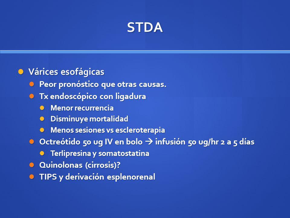STDA Várices esofágicas Peor pronóstico que otras causas.