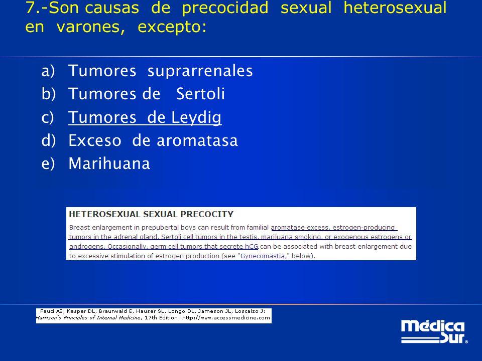 7.-Son causas de precocidad sexual heterosexual en varones, excepto: