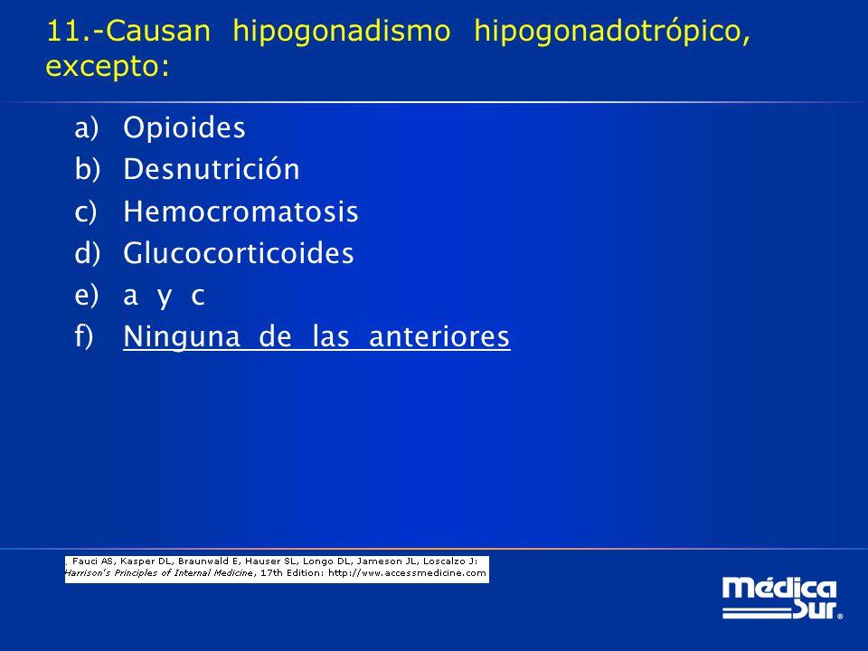 11.-Causan hipogonadismo hipogonadotrópico, excepto: