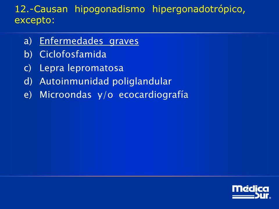 12.-Causan hipogonadismo hipergonadotrópico, excepto:
