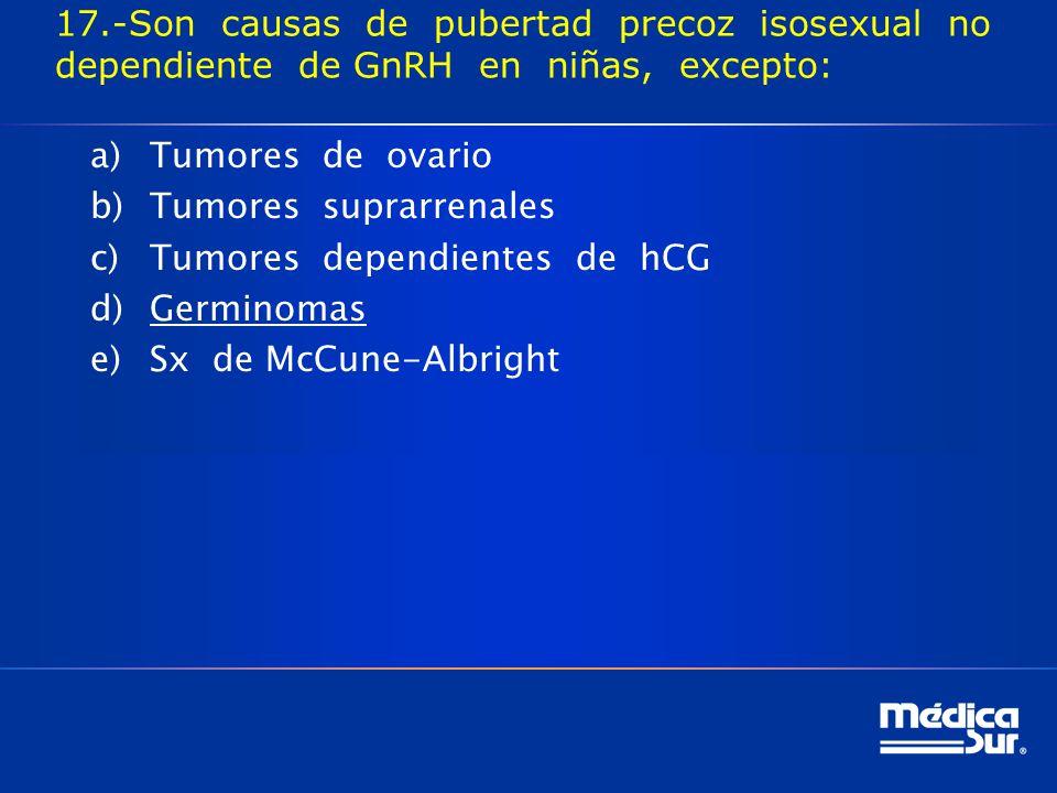 17.-Son causas de pubertad precoz isosexual no dependiente de GnRH en niñas, excepto: