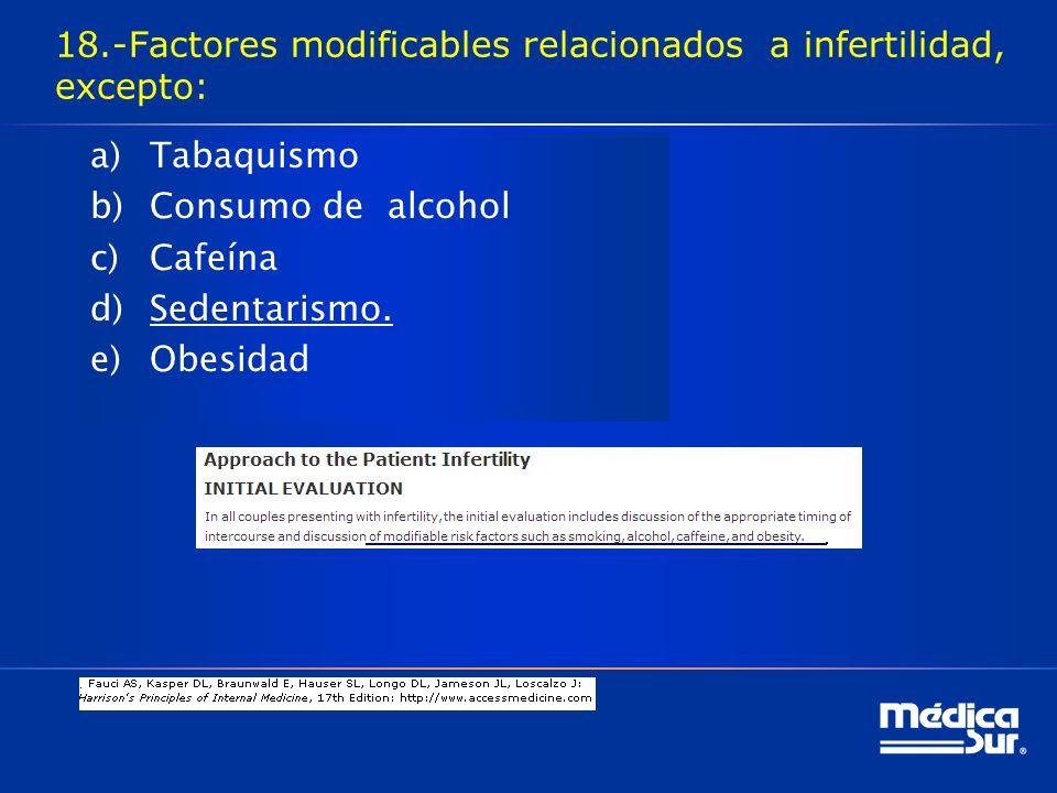 18.-Factores modificables relacionados a infertilidad, excepto: