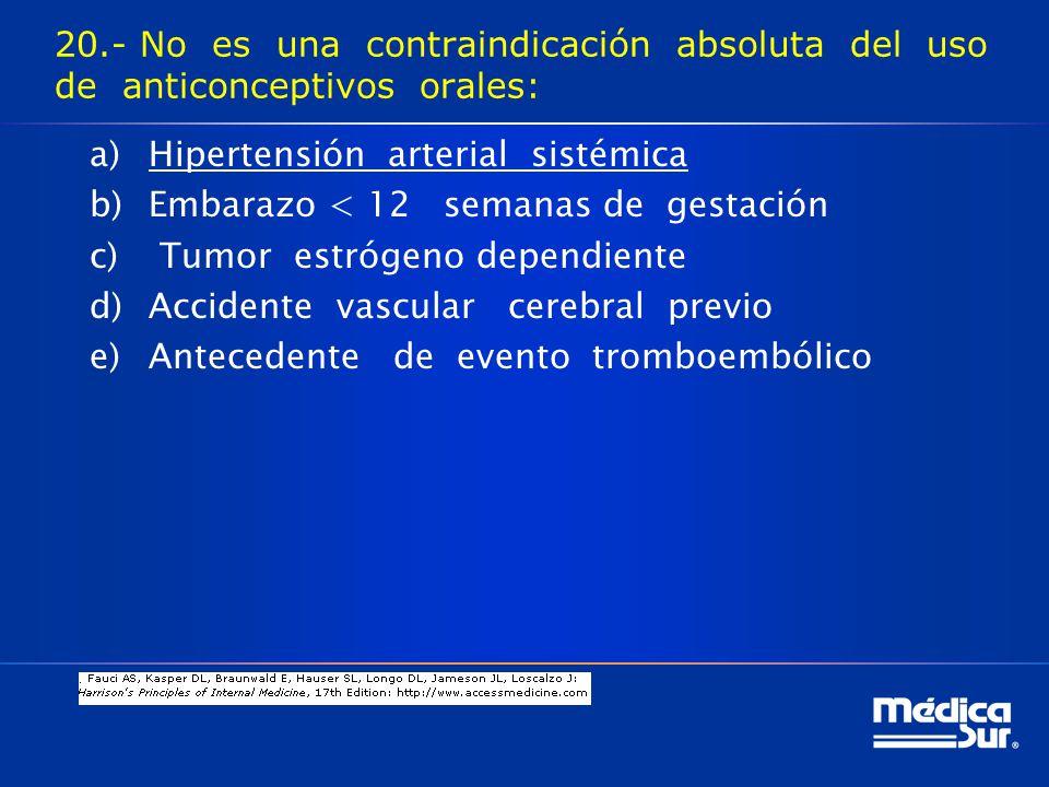20.- No es una contraindicación absoluta del uso de anticonceptivos orales: