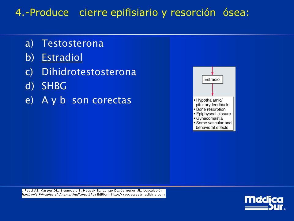 4.-Produce cierre epifisiario y resorción ósea: