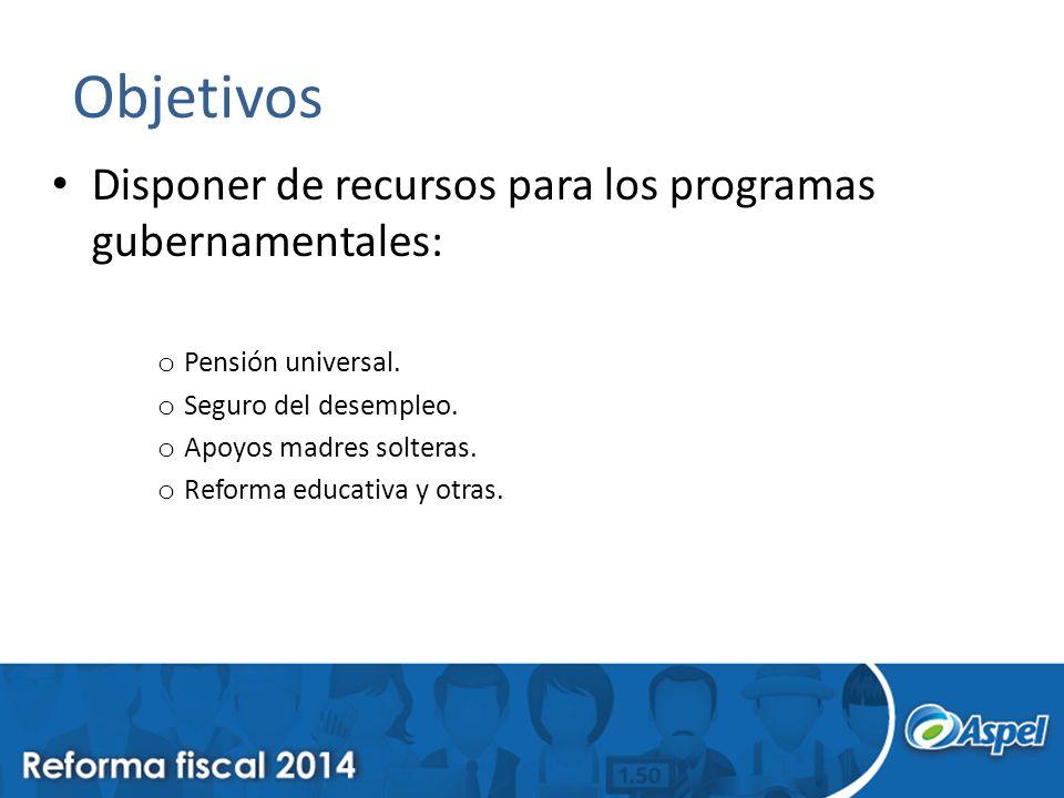 Objetivos Disponer de recursos para los programas gubernamentales: