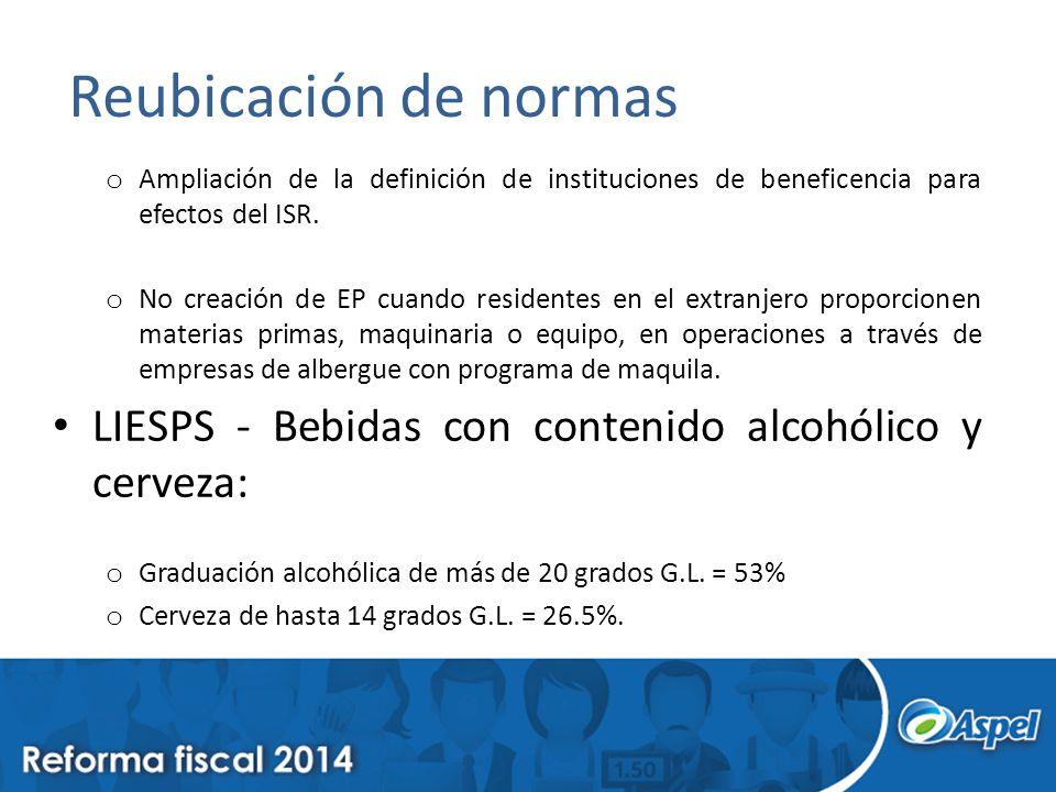 Reubicación de normas Ampliación de la definición de instituciones de beneficencia para efectos del ISR.
