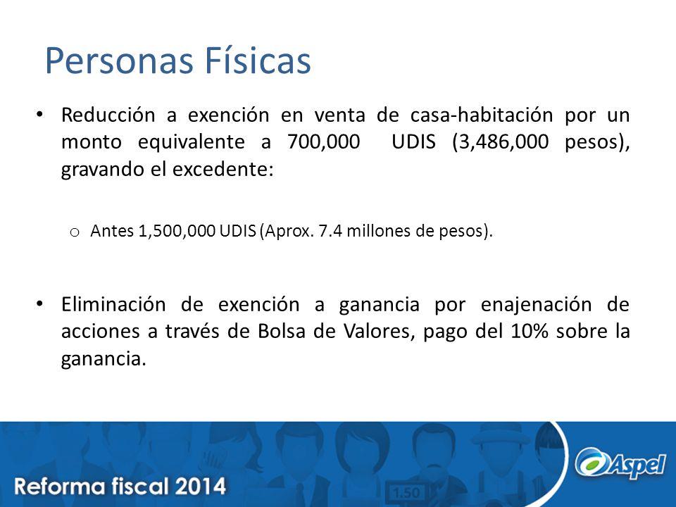 Personas Físicas Reducción a exención en venta de casa-habitación por un monto equivalente a 700,000 UDIS (3,486,000 pesos), gravando el excedente: