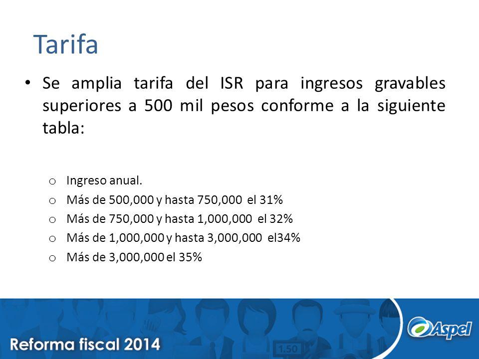 Tarifa Se amplia tarifa del ISR para ingresos gravables superiores a 500 mil pesos conforme a la siguiente tabla: