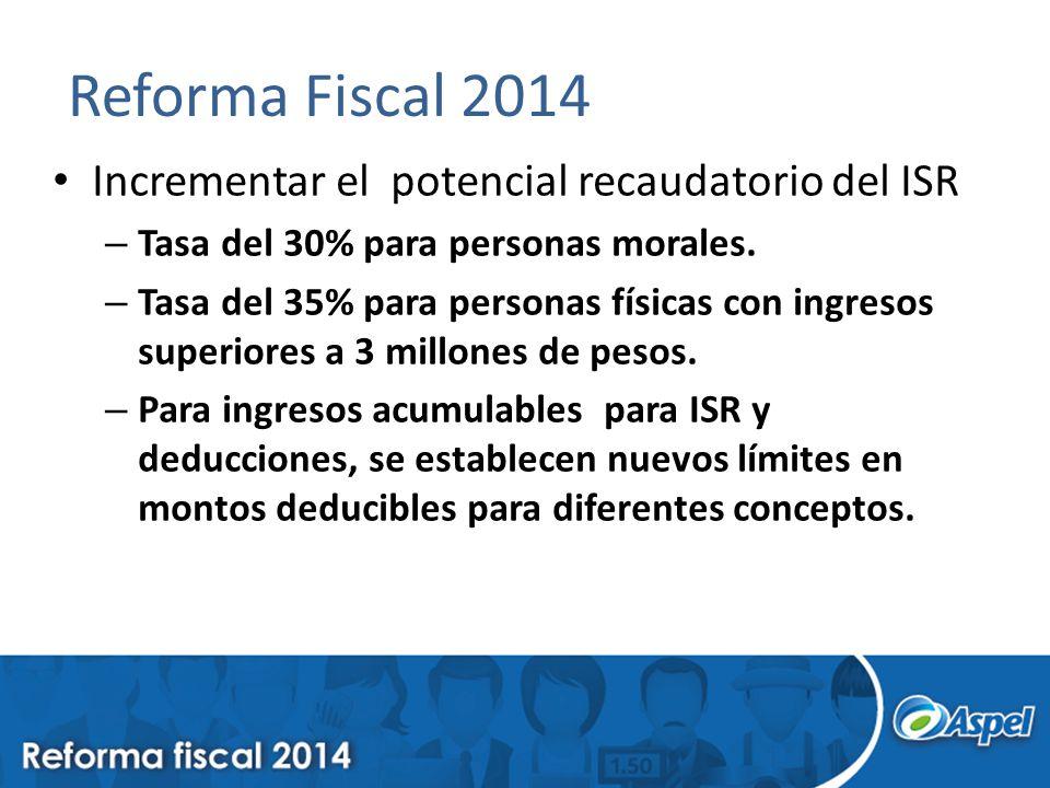 Reforma Fiscal 2014 Incrementar el potencial recaudatorio del ISR