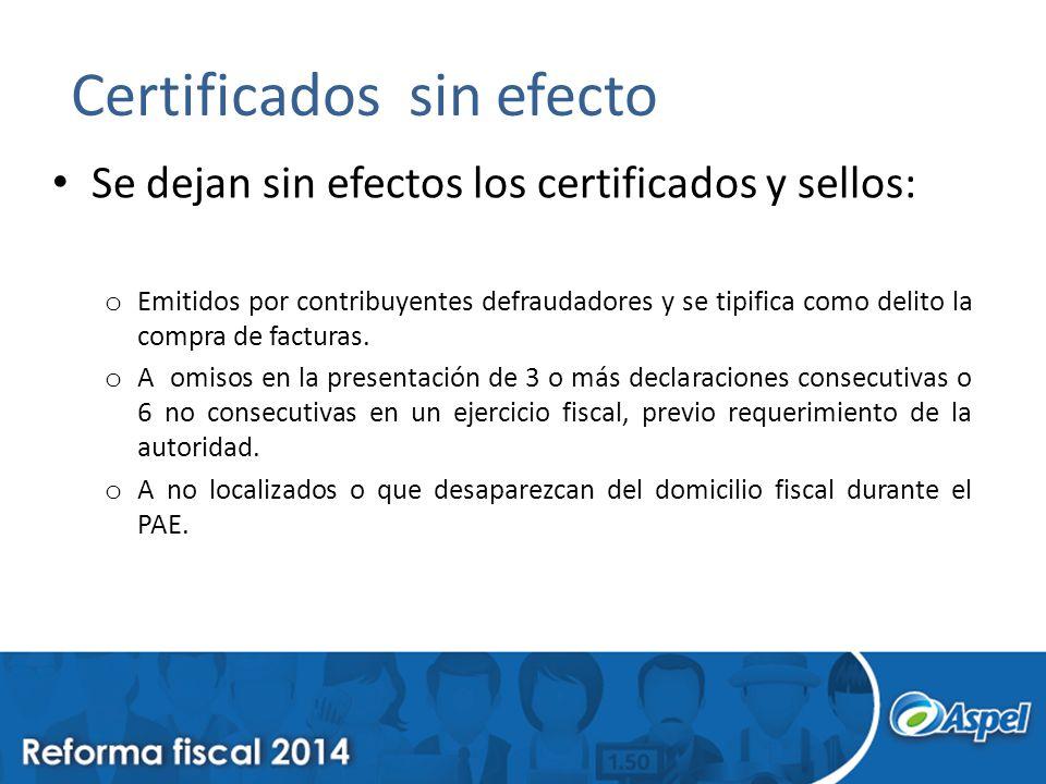 Certificados sin efecto