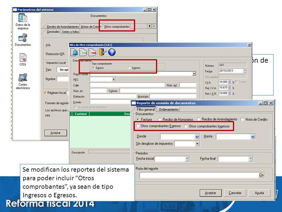 Se agrega en la configuración de parámetros del sistema la definición de Otros comprobantes