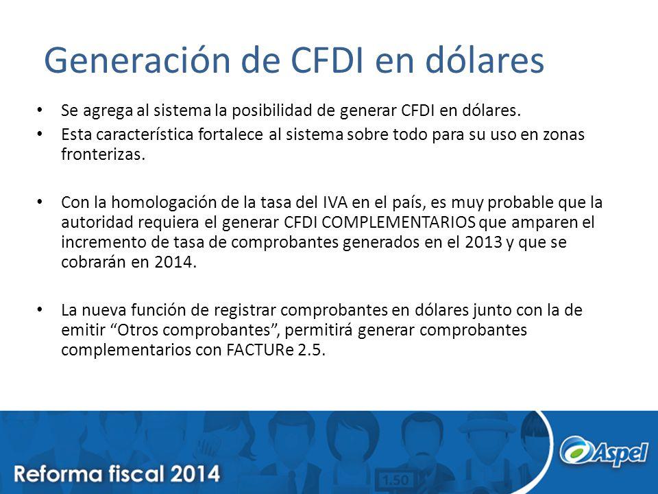 Generación de CFDI en dólares