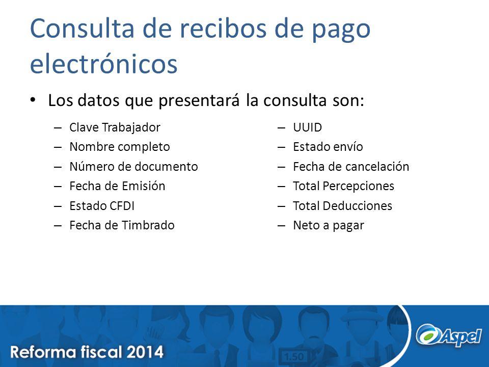 Consulta de recibos de pago electrónicos