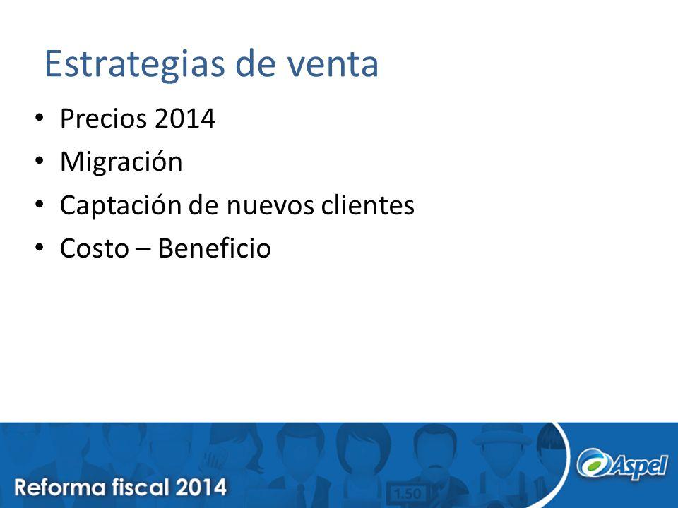 Estrategias de venta Precios 2014 Migración