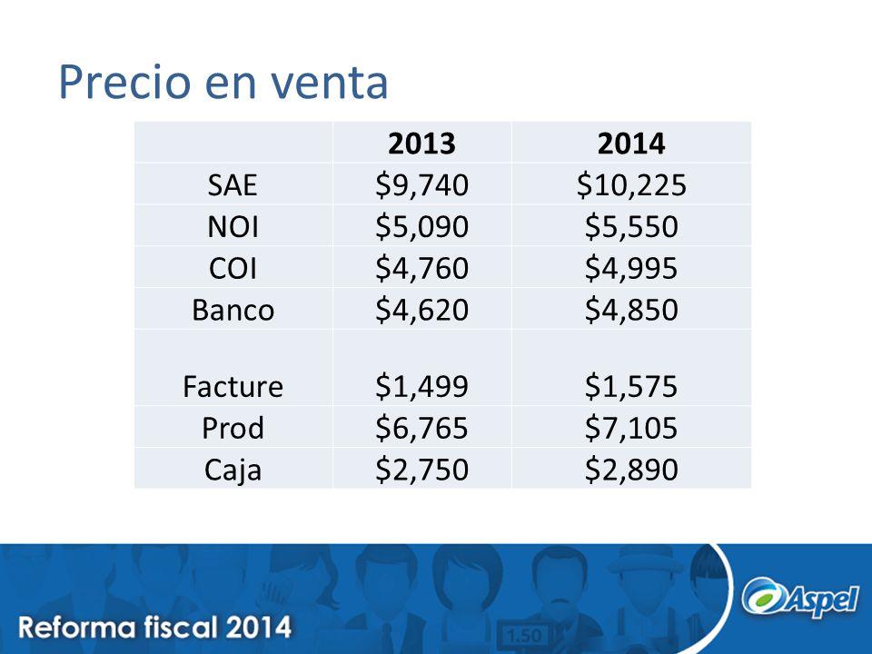 Precio en venta 2013 2014 SAE $9,740 $10,225 NOI $5,090 $5,550 COI