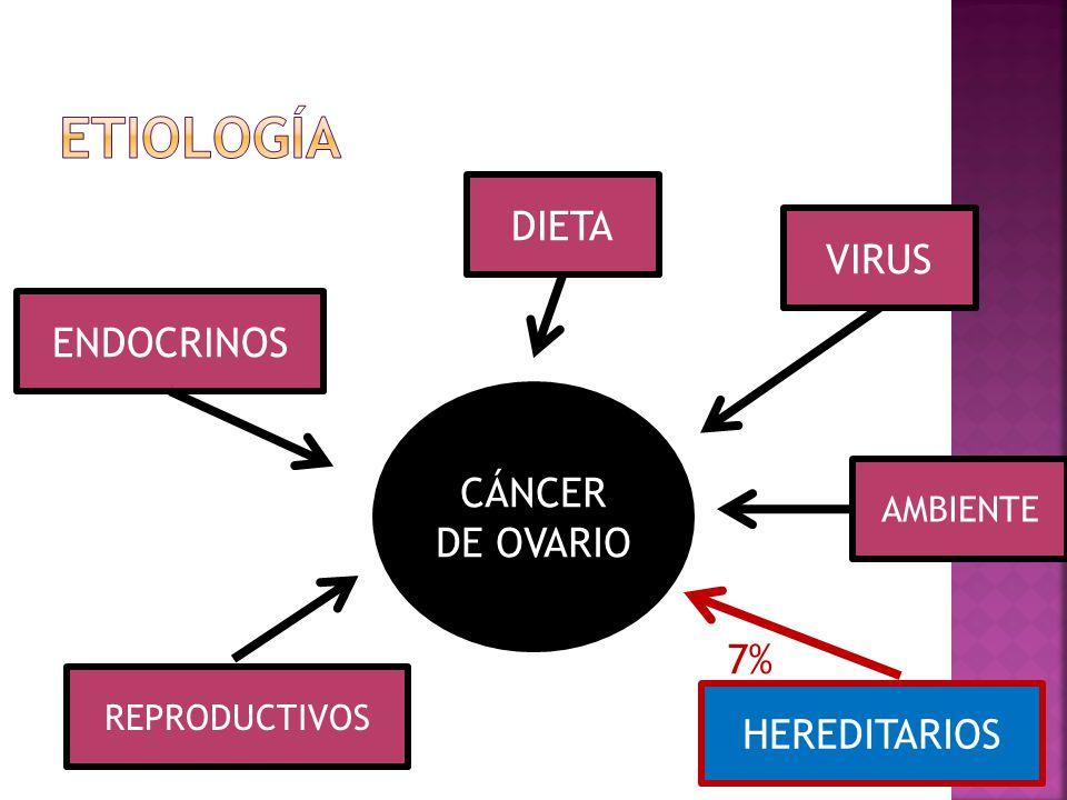Etiología DIETA VIRUS ENDOCRINOS CÁNCER DE OVARIO 7% HEREDITARIOS