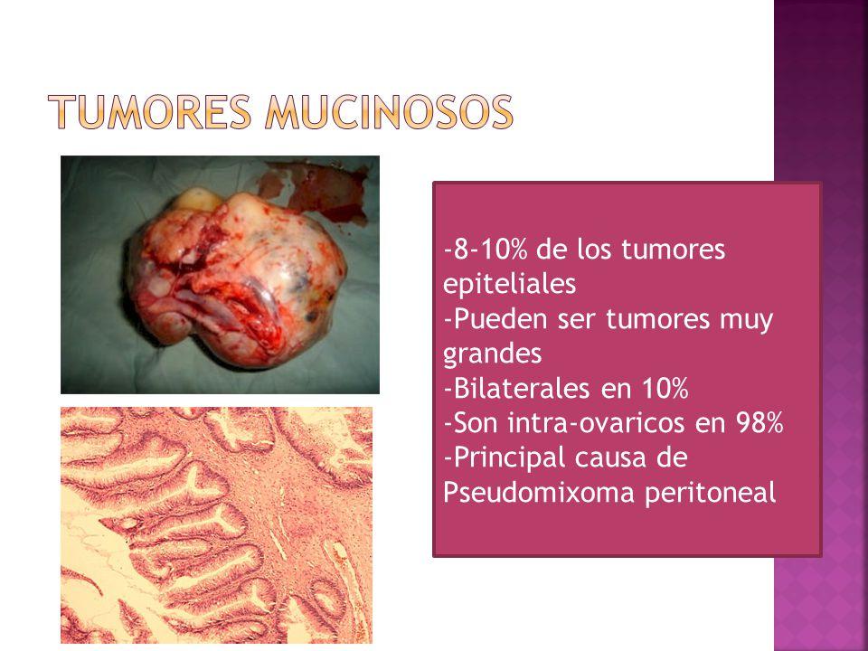 Tumores Mucinosos -8-10% de los tumores epiteliales