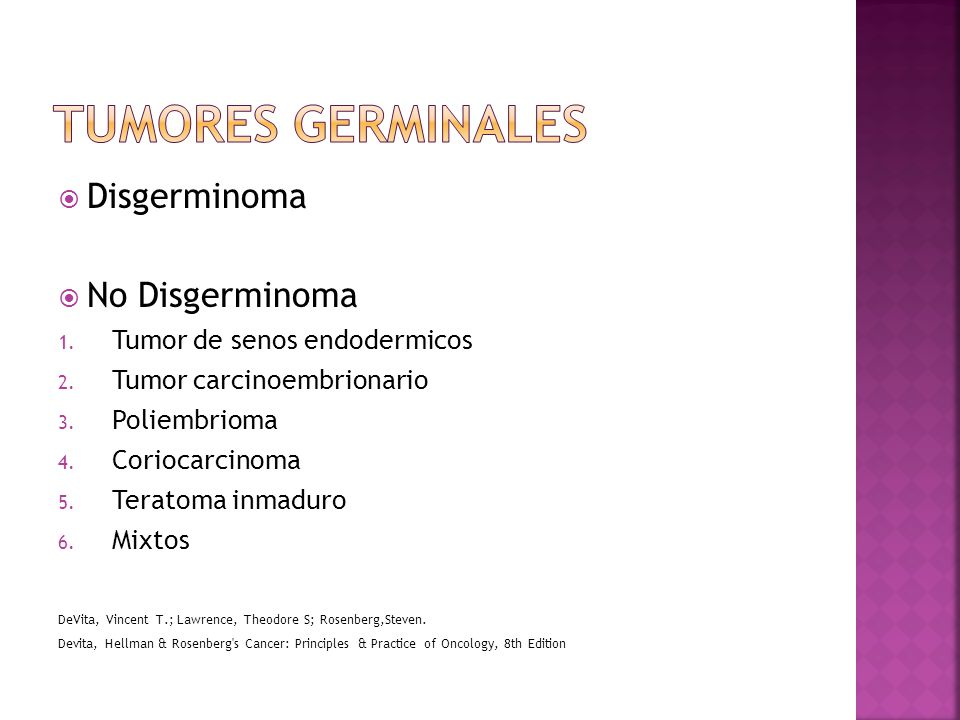 Tumores germinales Disgerminoma No Disgerminoma