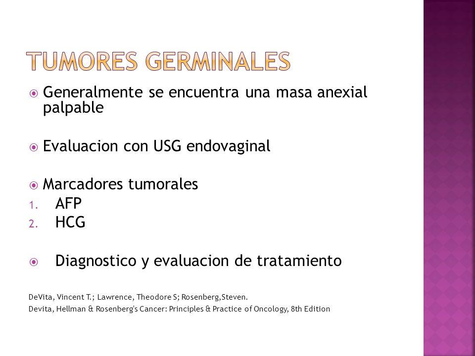 Tumores germinales Generalmente se encuentra una masa anexial palpable