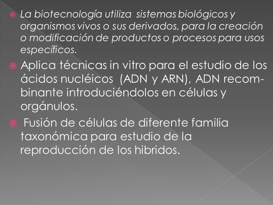La biotecnología utiliza sistemas biológicos y organismos vivos o sus derivados, para la creación o modificación de productos o procesos para usos específicos.