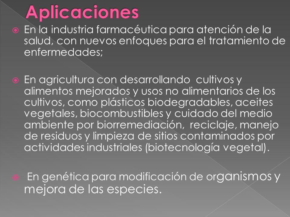 Aplicaciones En la industria farmacéutica para atención de la salud, con nuevos enfoques para el tratamiento de enfermedades;