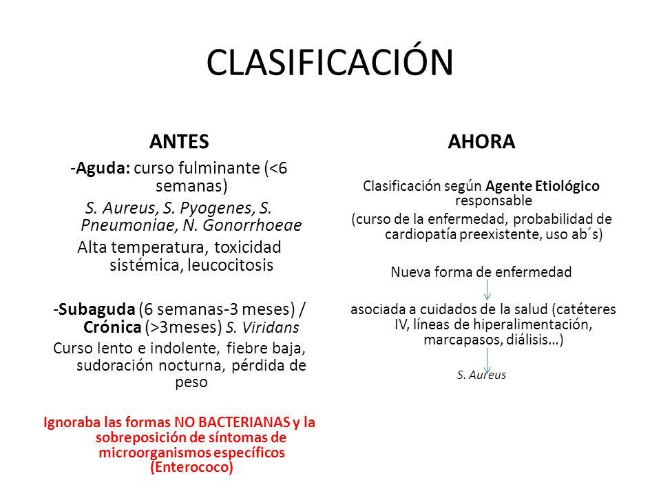 CLASIFICACIÓN ANTES AHORA -Aguda: curso fulminante (<6 semanas)