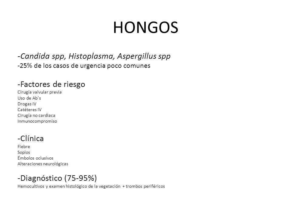 HONGOS -Candida spp, Histoplasma, Aspergillus spp -Factores de riesgo