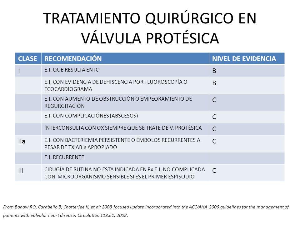 TRATAMIENTO QUIRÚRGICO EN VÁLVULA PROTÉSICA