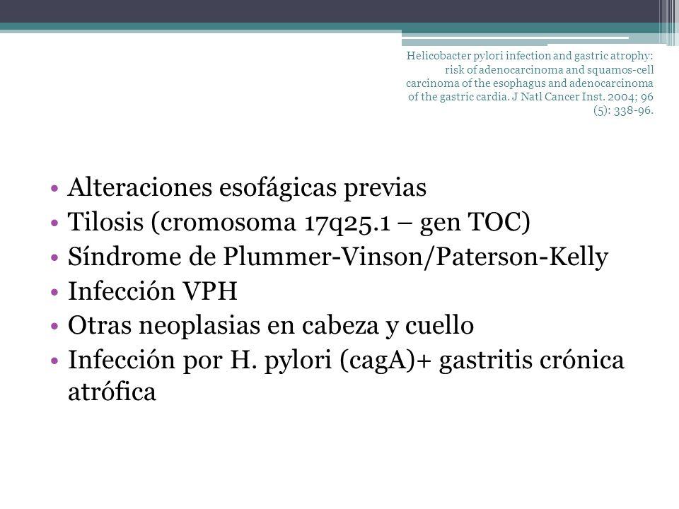 Alteraciones esofágicas previas Tilosis (cromosoma 17q25.1 – gen TOC)