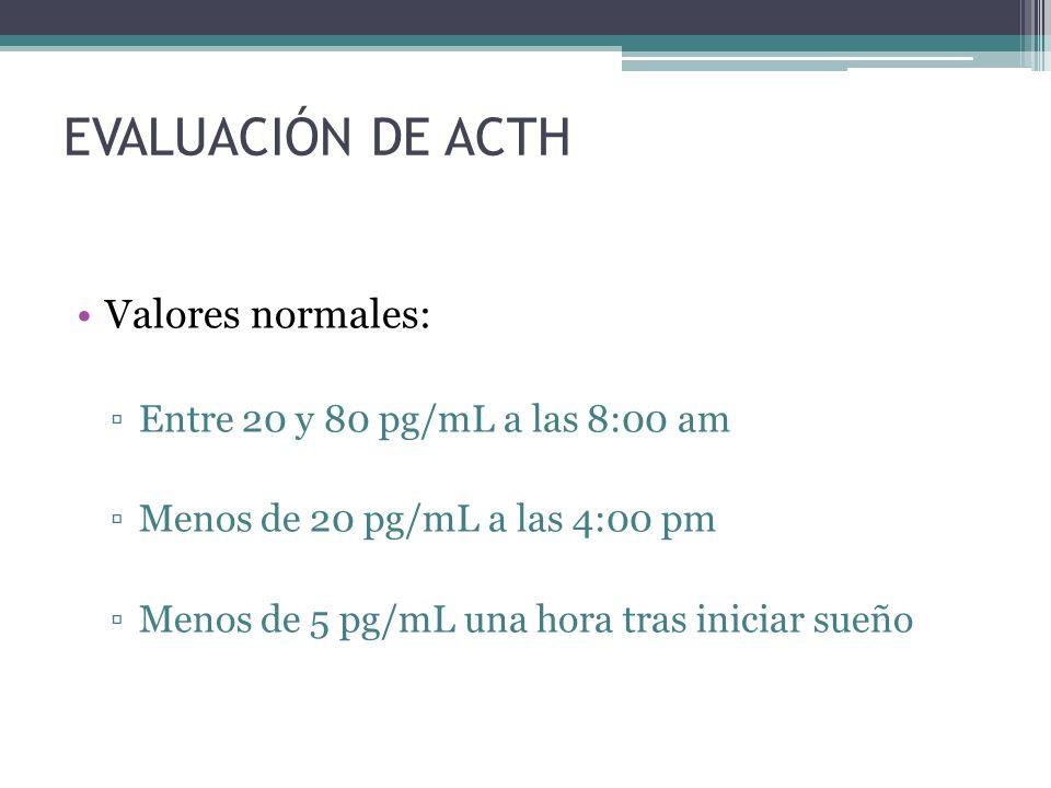 EVALUACIÓN DE ACTH Valores normales: Entre 20 y 80 pg/mL a las 8:00 am