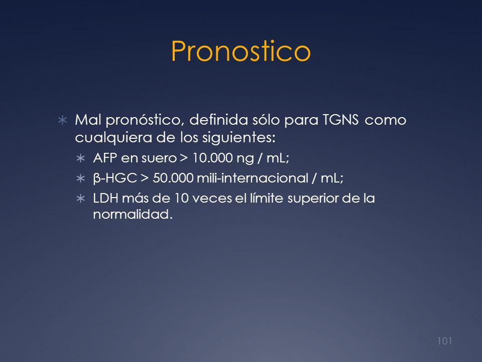 Pronostico Mal pronóstico, definida sólo para TGNS como cualquiera de los siguientes: AFP en suero > 10.000 ng / mL;