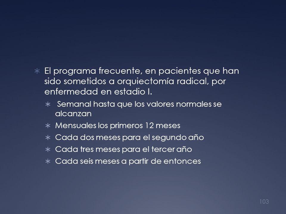El programa frecuente, en pacientes que han sido sometidos a orquiectomía radical, por enfermedad en estadio I.