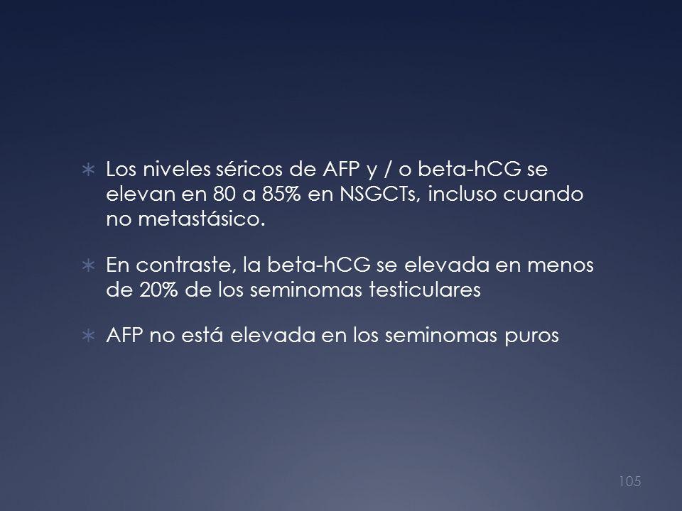 Los niveles séricos de AFP y / o beta-hCG se elevan en 80 a 85% en NSGCTs, incluso cuando no metastásico.