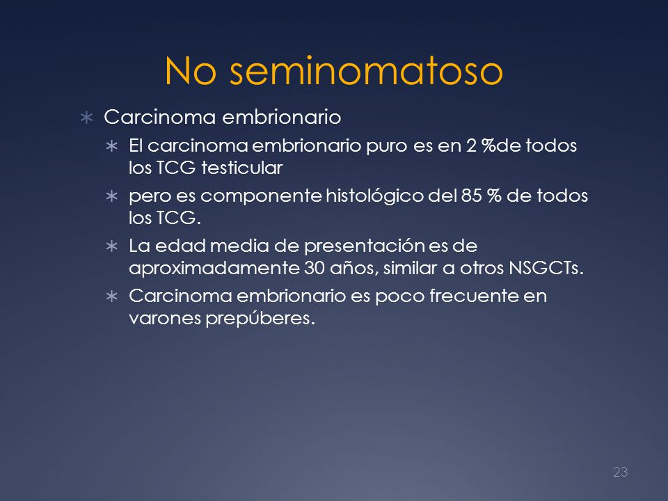 No seminomatoso Carcinoma embrionario