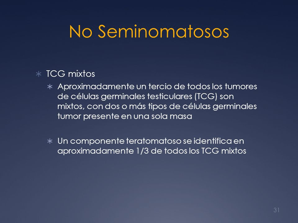 No Seminomatosos TCG mixtos