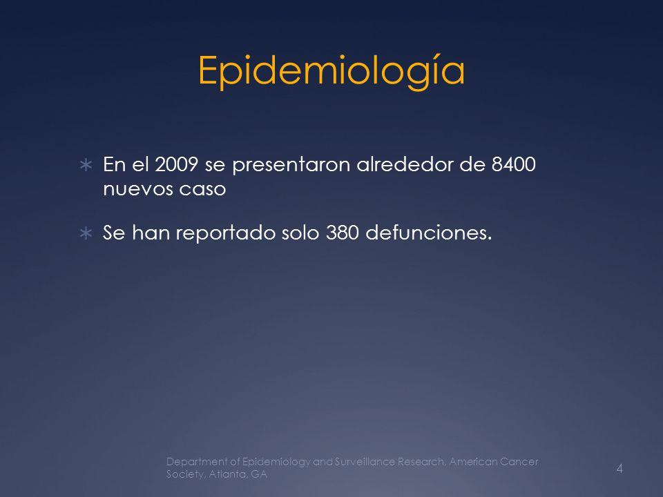 Epidemiología En el 2009 se presentaron alrededor de 8400 nuevos caso