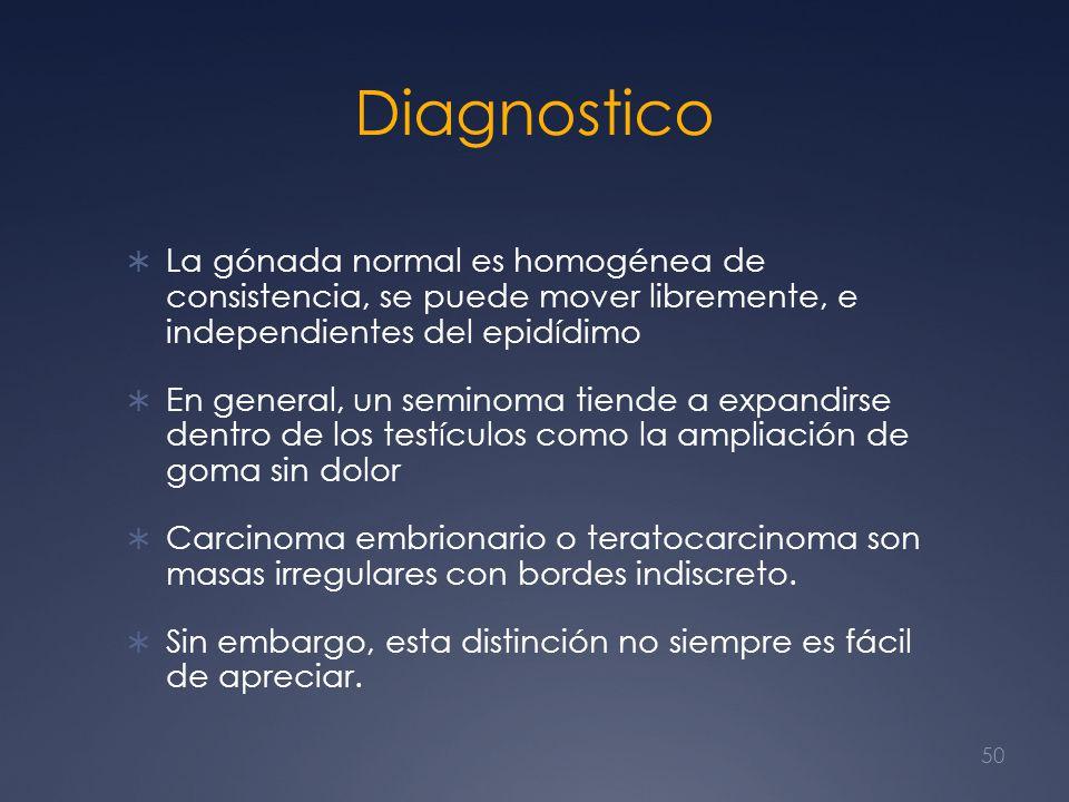 Diagnostico La gónada normal es homogénea de consistencia, se puede mover libremente, e independientes del epidídimo.