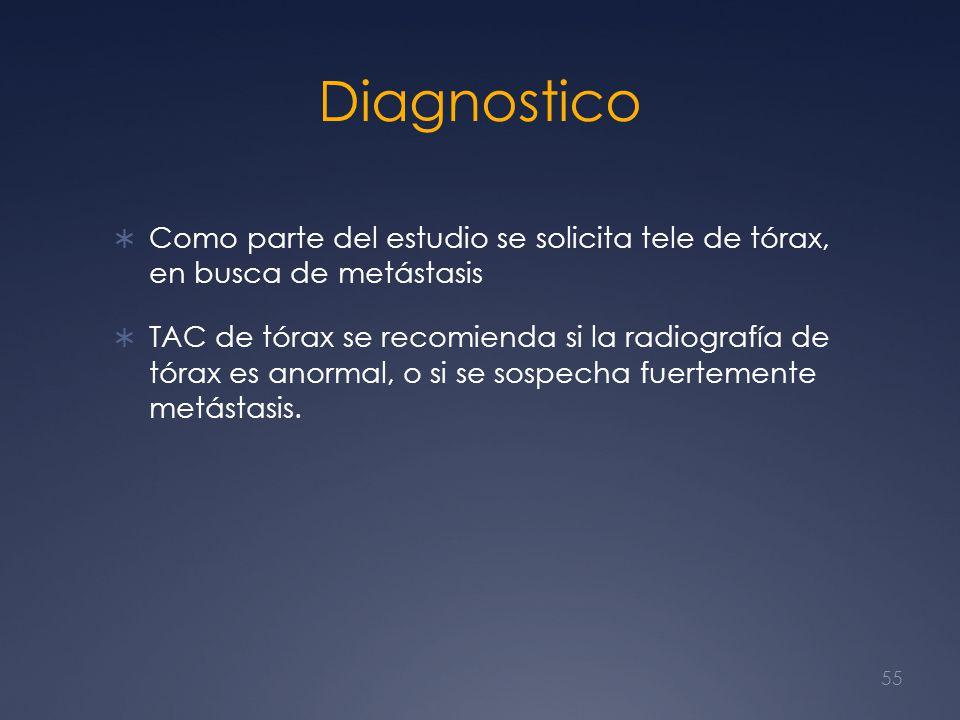 Diagnostico Como parte del estudio se solicita tele de tórax, en busca de metástasis.