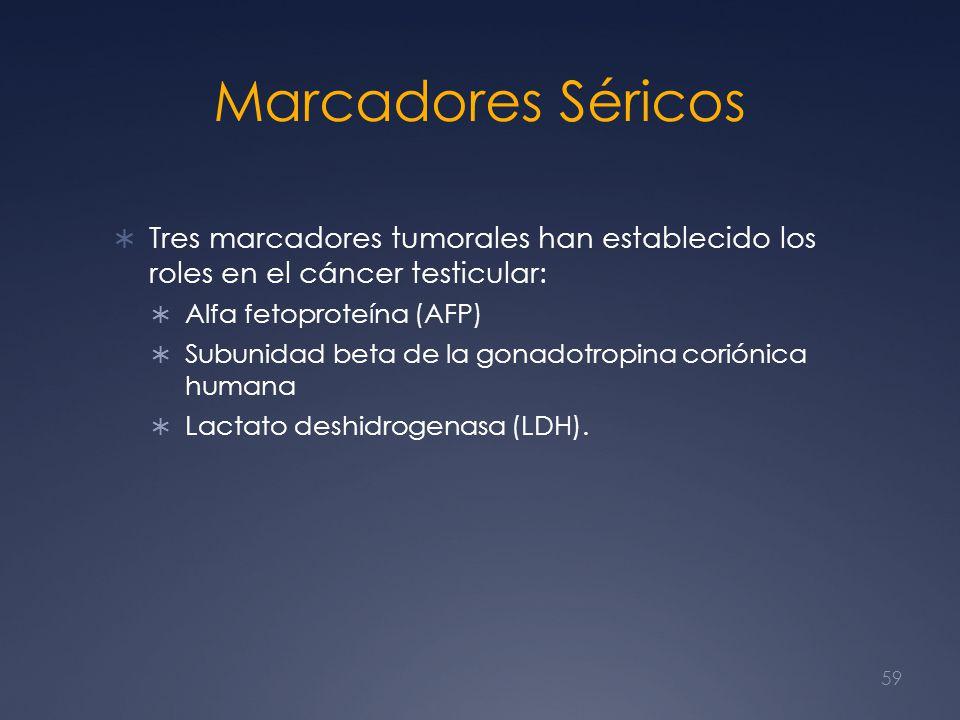 Marcadores Séricos Tres marcadores tumorales han establecido los roles en el cáncer testicular: Alfa fetoproteína (AFP)