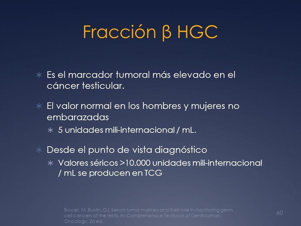 Fracción β HGC Es el marcador tumoral más elevado en el cáncer testicular. El valor normal en los hombres y mujeres no embarazadas.