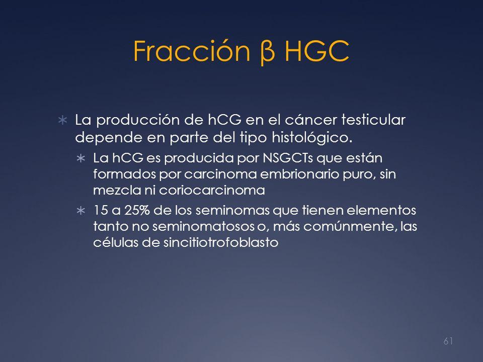 Fracción β HGC La producción de hCG en el cáncer testicular depende en parte del tipo histológico.