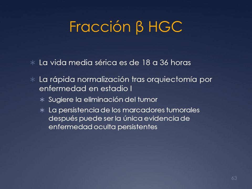 Fracción β HGC La vida media sérica es de 18 a 36 horas