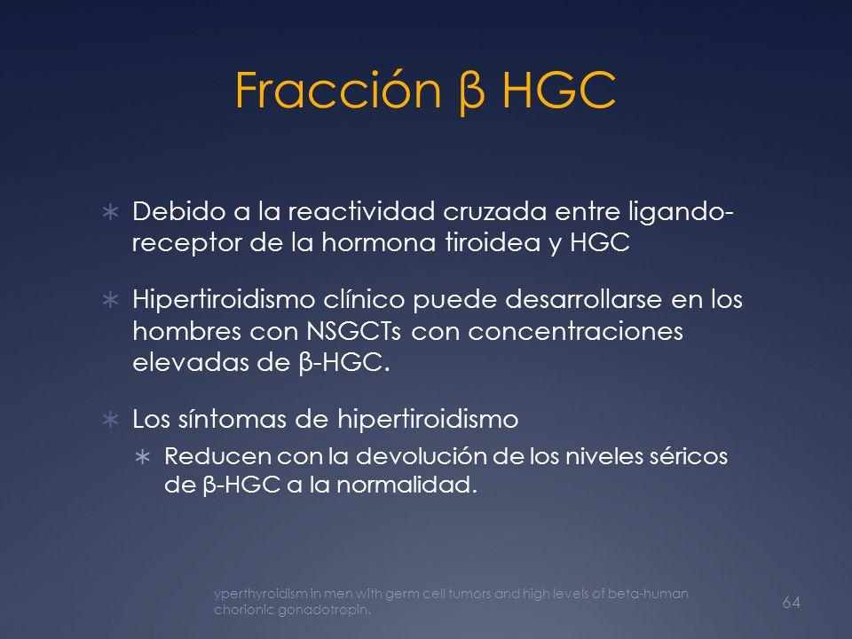 Fracción β HGC Debido a la reactividad cruzada entre ligando- receptor de la hormona tiroidea y HGC.